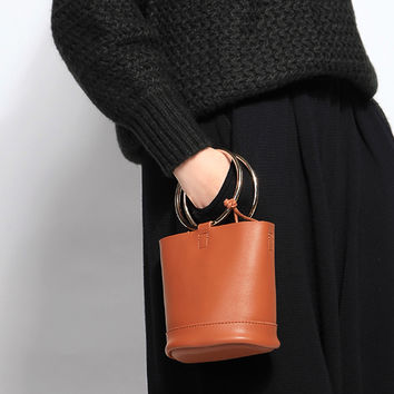 Brown Metal Handle Cross Body Bucket Bag