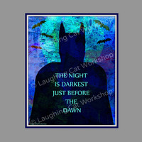 Batman art print poster Comics geekery Girl Boy Teen wall art classroom decor kids playroom superhero art night darkest dawn school nurse