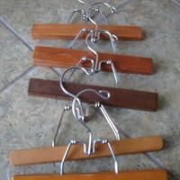 Vintage Wooden Pant or Skirt Clothes Hangers Set of 5