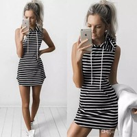 New Women Casual Hooded Dresses Hot Summer Sleeveless Lady's Street Style Short Dresses Outdoor Sports Striped One Piece