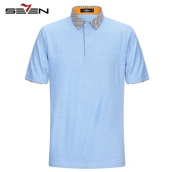 Seven7 Brand Classic Men Polo Shirts Short Sleeve Performance Solid Deck Polo Shirts Classic Plaid Collar Tops Tees 112T50270