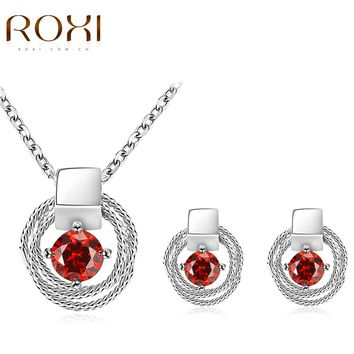 2017 ROXI Jewelry Set Lucky Eyes Red Crystal Long Necklace/Stud Earrings for Mother's Gift Fashion Jewellery