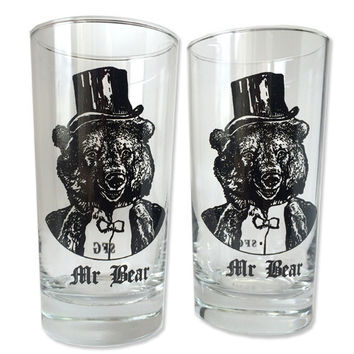 12 oz. Drinking Glasses Gentleman Bear