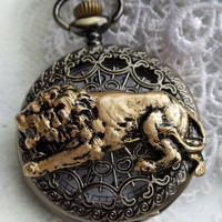 Lion pocket watch, men's pocket watch with hunting lion mounted on front cover
