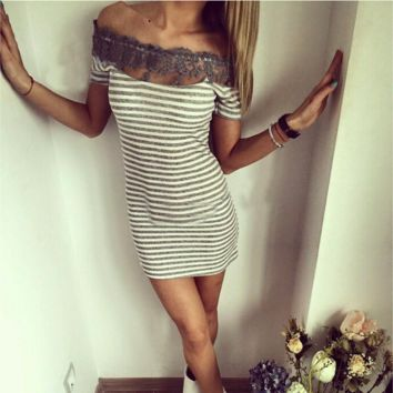 Lovely Stripe Lace Neck Summer Dress