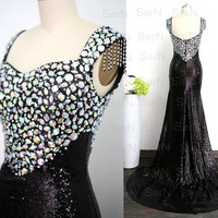 Black Sequin Prom Dress, Straps Long Sequin Mermaid Formal Gown, Long Sequin Evening Dresses, Black Sequin Long Prom Gown