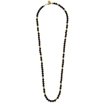 GABBY BLACK ONYX LONG NECKLACE IN GOLD