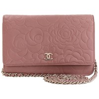 Chanel Pink Lambskin Camellia Wallet on a Chain WOC Crossbody Shoulder Bag