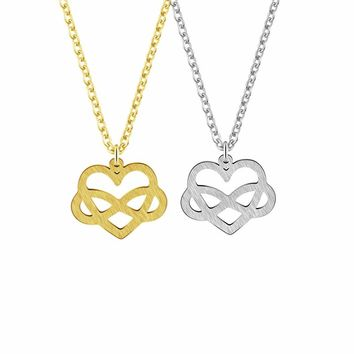 Love Infinity Letter 8 Shaped Heart Pendant Necklaces For Women Love Gifts Silver Color Stainless Steel Jewelry Party Bijou