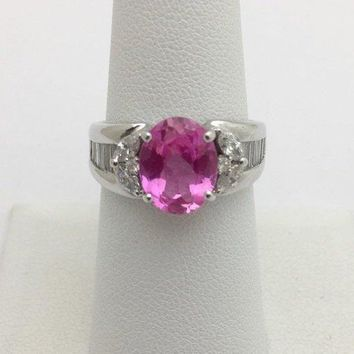 Luxinelle 2.93 Carat Pink Topaz and Diamond Ring 18K White Gold by Luxinelle® Jewelry