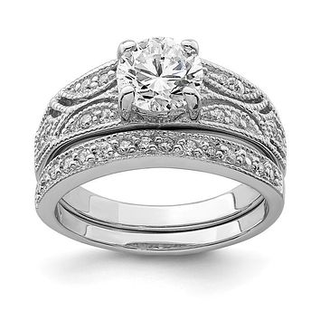 Sterling Silver 2 Piece CZ Round Center Promise Wedding Ring Set