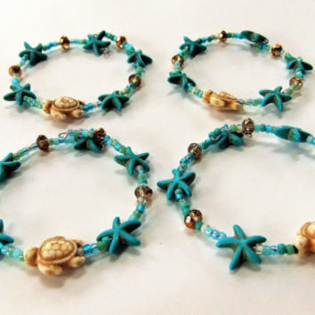 Stone Turtle Starfish Beaded Napkin Rings Set of 4 Single Strand Nautical Beach Ocean Turquoise Cream Gold Crystals Shannon's Whimsies