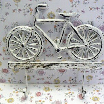 Bicycle Double Wall Hook Shabby Distressed White Cast Iron Wall Coat Leash Hat Towel Scarf Jewelry Keys 2 Hooks Home Decor