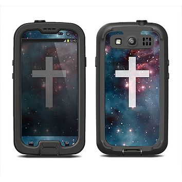 The Vector White Cross v2 over Bright Pink Nebula Space Samsung Galaxy S3 LifeProof Fre Case Skin Set
