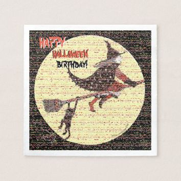 Happy Halloween Birthday Witch and Cat Paper Napkin