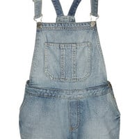 MOTO Bleach Denim Dungarees - Bleach Stone