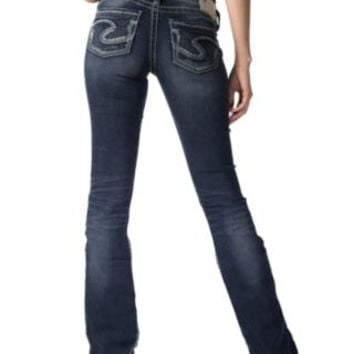 Silver Jeans Women's Dark Wash Suki Open Low Rise Boot Cut Jeans L92751SSF360