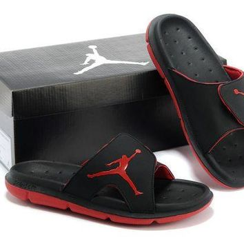 VLX85E Beauty Ticks Nike Air Jordan Black/red Casual Sandals Slipper Shoes Size Us 7-13