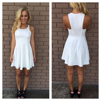 On Cloud Nine Fit N Flare Dress - WHITE