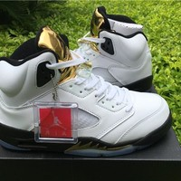 Air Jordan Retro 5 Olympic DS Gold Medal Black White Basketball Shoes With Box
