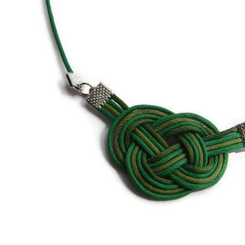 Sailor knot necklace, cord jewellery, statement jewellery, green necklace, macrame, gift for her