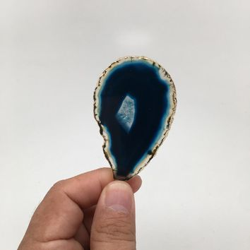 106 cts Blue Agate Druzy Slice Geode Pendant Gold Plated From Brazil, Bp1052