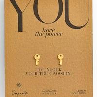 Dogeared 'You Have the Power' Boxed Key Stud Earrings