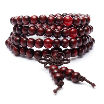 Sandalwood Buddhist Buddha Meditation Prayer Bead Mala Bracelet Necklace Collection - (Red)