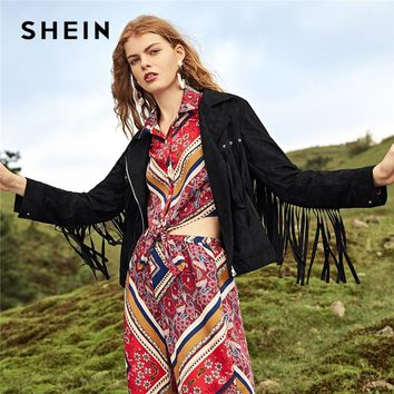 SHEIN Black Fringe Trim Suede Biker Jacket Rock Notched Plain Zipper Outerwear Elegant Fashion Women Autumn Streetwear Coat