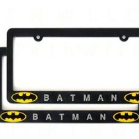 A Set of Two Plastic 3D License Plate Frame - Batman Classic Shield