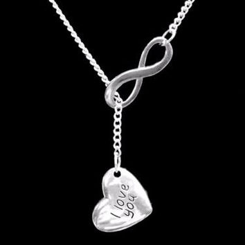 I Love You Heart Mother's Day Gift Wife Daughter Mom Infinity Lariat Necklace