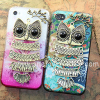 2 color choice---Cute Owl iphone case,owl on the branch with bird ,floral case for iPhone 4 Case, iPhone 4s Cover, iphone 5 case cover