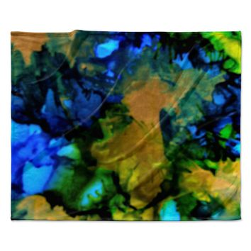 "Claire Day ""Relax"" Blue Yellow Fleece Throw Blanket"