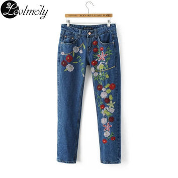 New Arrival Women's Flower Embroidered Jeans Denim Pants YC12667