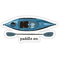 "'Blue Kayak with paddle illustration, and ""Paddle on"" text' Sticker by PenToPixel"
