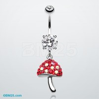 Exotic Mushroom Tiffany Inspired Dangle Belly Button Ring
