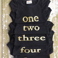 BIRTHDAY! Little girls black with lettering, age, birthday party shirt, photo prop, pictures, outfit, age, two, three, four, five, chic