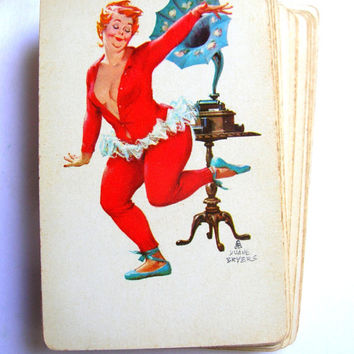 Vintage chunky pin up playing cards gammaphone, full deck ,scrapbook,paper crafts, ephemera