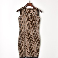 FENDI 2018 Summer New Double F English Letter Pattern Waist Sleeveless Vest Knit Skirt F0433-1