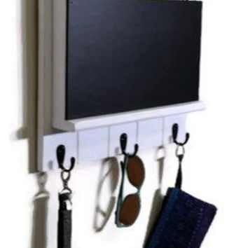 Green Hill Mail Organizer and Key Rack with Chalkboard - EXTRA LARGE SIZE