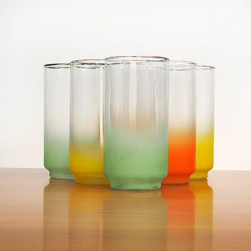 Set of 6 Vintage Libbey Blendo Style Tumblers with Gold Rims | Orange, Green, Yellow Frosted Glasses