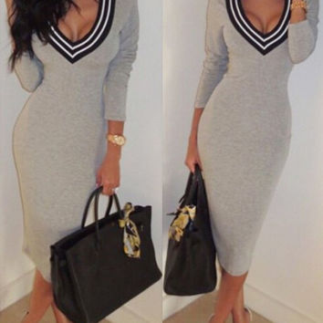 Plunging Neck Long Sleeves Striped Splicing Dress