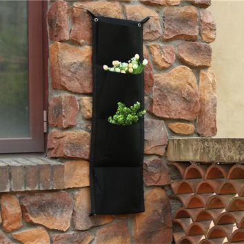 RETAIL 4 pockets Decorative Hanging Vase flower pot Wall-mounted fabric Polyester  grow Bag Holder Planter vertical garden