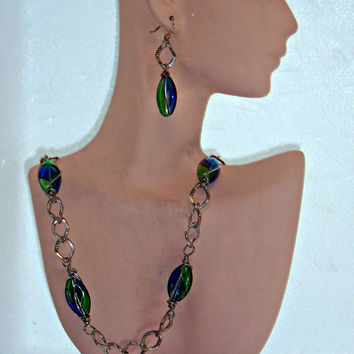 Blue/Green Handblown Glass Necklace and Earrings