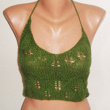 Knit Green Top Tank Halter Women Summer Wear Bustier Top Summer Festival Top Handmade Knitting