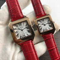 hcxx C052 Cartier Simple Leisure Fashion Automatic Leather Watchand Lovers Watches Red
