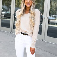 Oatmeal V Neck Cozy Sweater