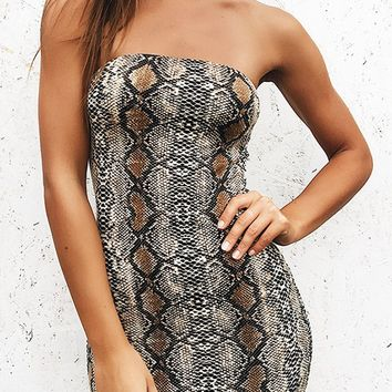 Never Forget Grey Snakeskin Python Pattern Strapless Tube Bodycon Mini Dress
