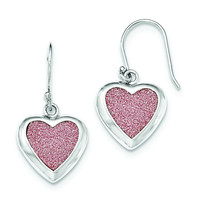 Sterling Silver Pink Glitter Infused Heart Shepherd Hook Earrings QE12530
