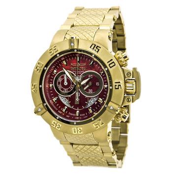 Invicta 80529 Men's Subaqua Chronograph Red Dial Gold Plated Steel Dive Watch